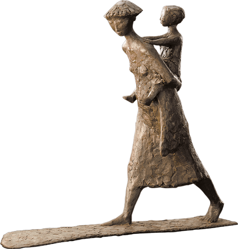 Bronzefigur Huckepack von Manfred Welzel - Huckepack PNG
