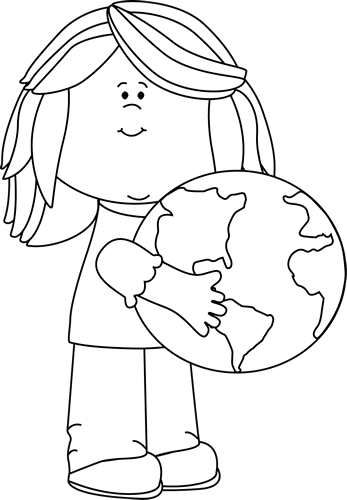 Black and White Girl Hugging Earth - Hug PNG Black And White