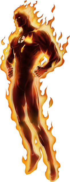 Human Torch Right Portrait Art.png - Human Torch PNG