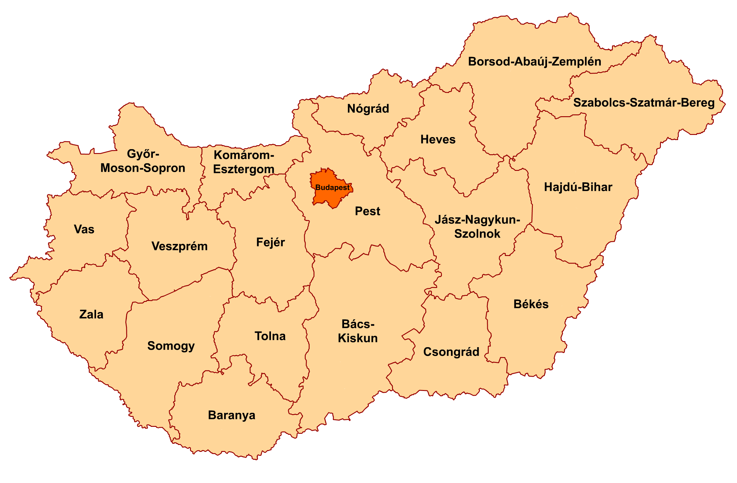 File:Counties of Hungary 2006.png - Hungary PNG