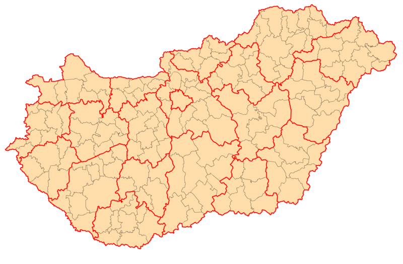 File:Districts of Hungary.png - Hungary PNG