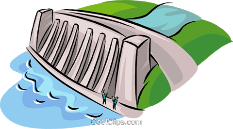 hydroelectric facility, dam, industry Royalty Free Vector Clip Art  illustration - Hydroelectricity PNG