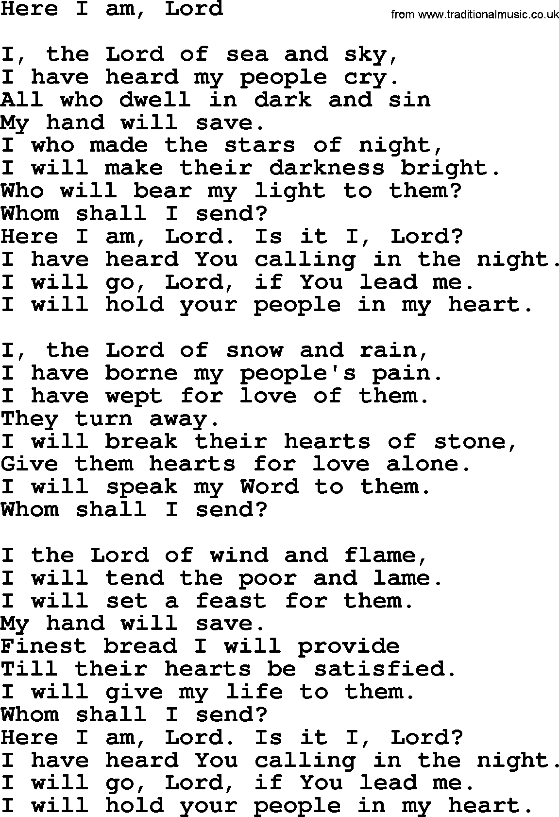 Poem for the Lord