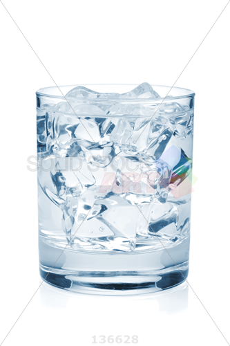 Stock Photo of Small glass filled with water and ice cubes on a white  background - Ice In Glass PNG