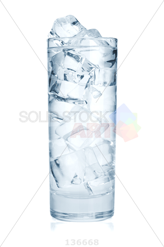Stock Photo of Tall glass of water with ice cubes isolated on a white  background - Ice In Glass PNG