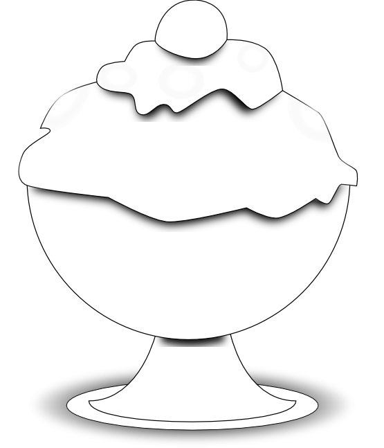 Food Ice Cream Black White Line Art 555px.png - Ice PNG Black And White