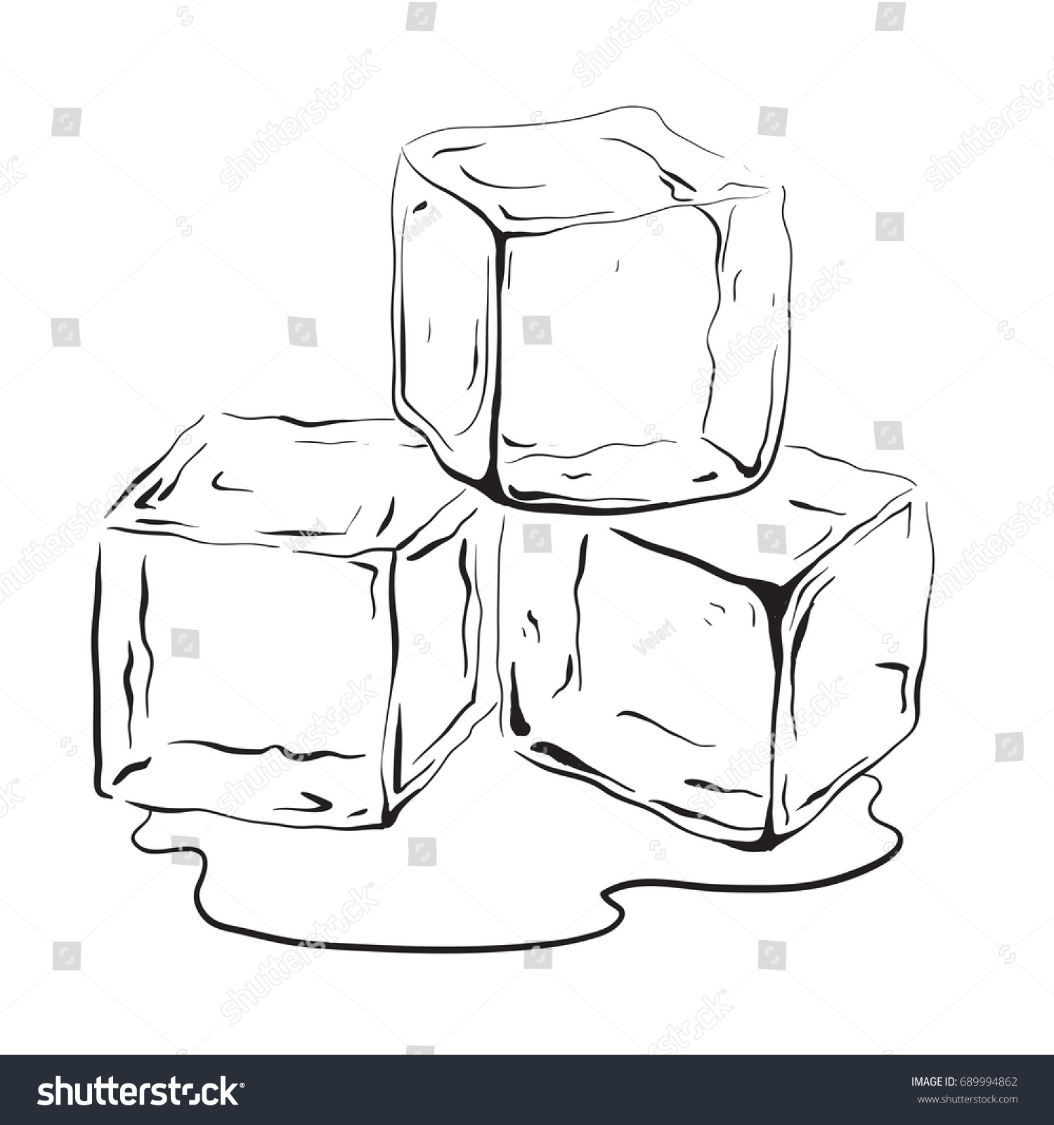 Hand drawn ice cubes. Black and white vector illustration for your  creativity - Ice PNG Black And White