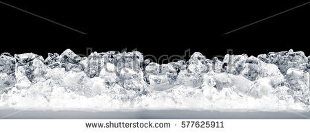Pieces of crushed ice cubes on black background. - Ice PNG Black And White