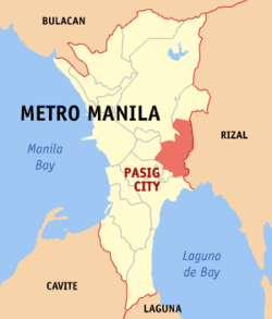 Map of Metro Manila showing the location of Pasig - Ilog Pasig PNG
