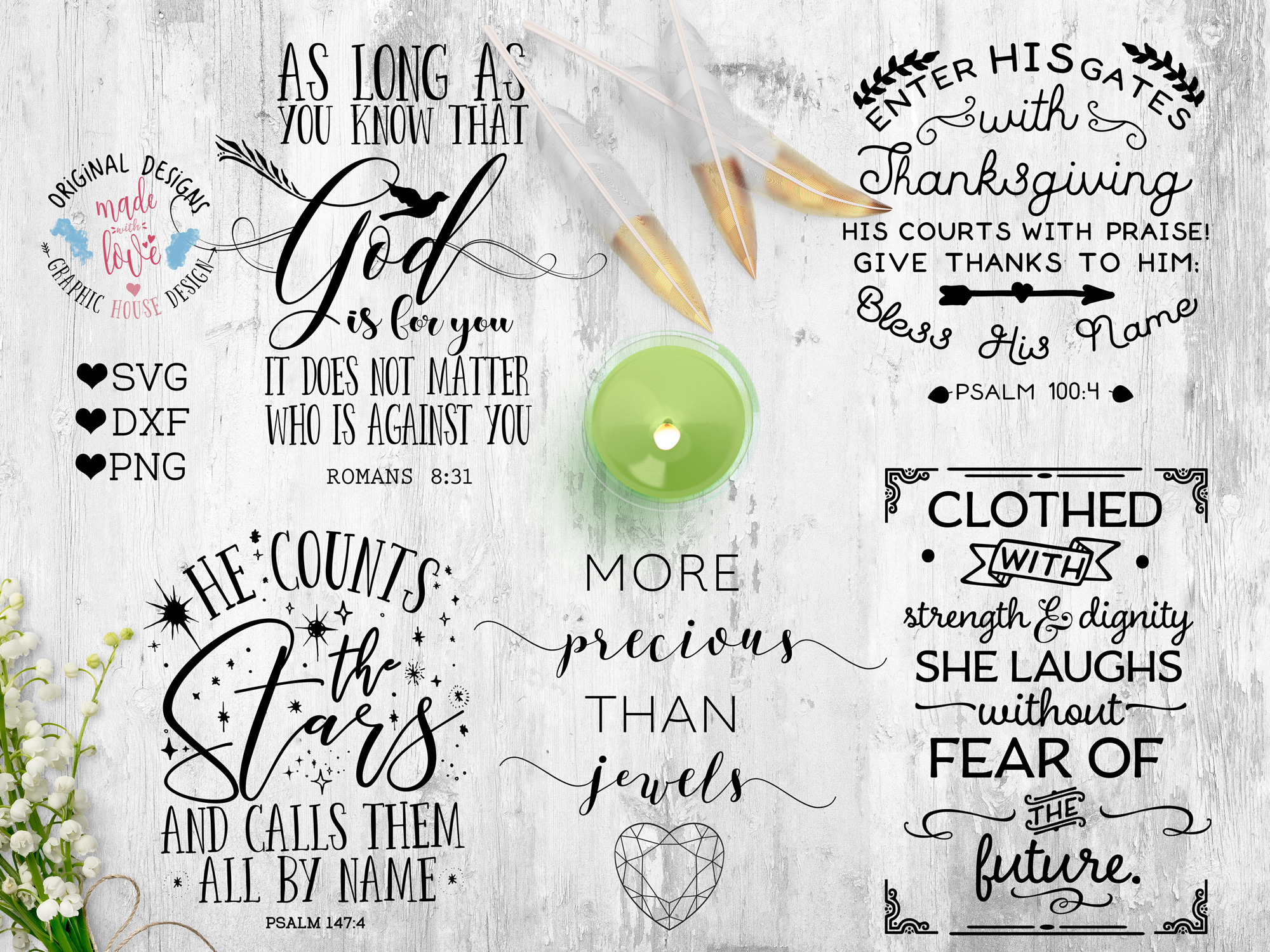 Bible Verse u0026 Scripture Bundle Cutting Files (SVG, DXF, PNG) example image - Ilong PNG