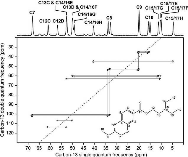 Figure 1.15 13 C u2013 13 C 2D INADEQUATE NMR correlation spectrum of  oxybuprocaine - Inadequate PNG