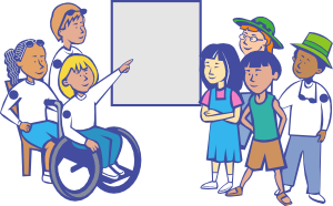 girl pointing to board clipart - Inclusive Education PNG