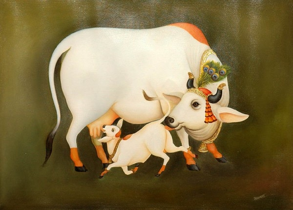 Arjuna Krishna Cliparts - Indian Cow With Krishna PNG