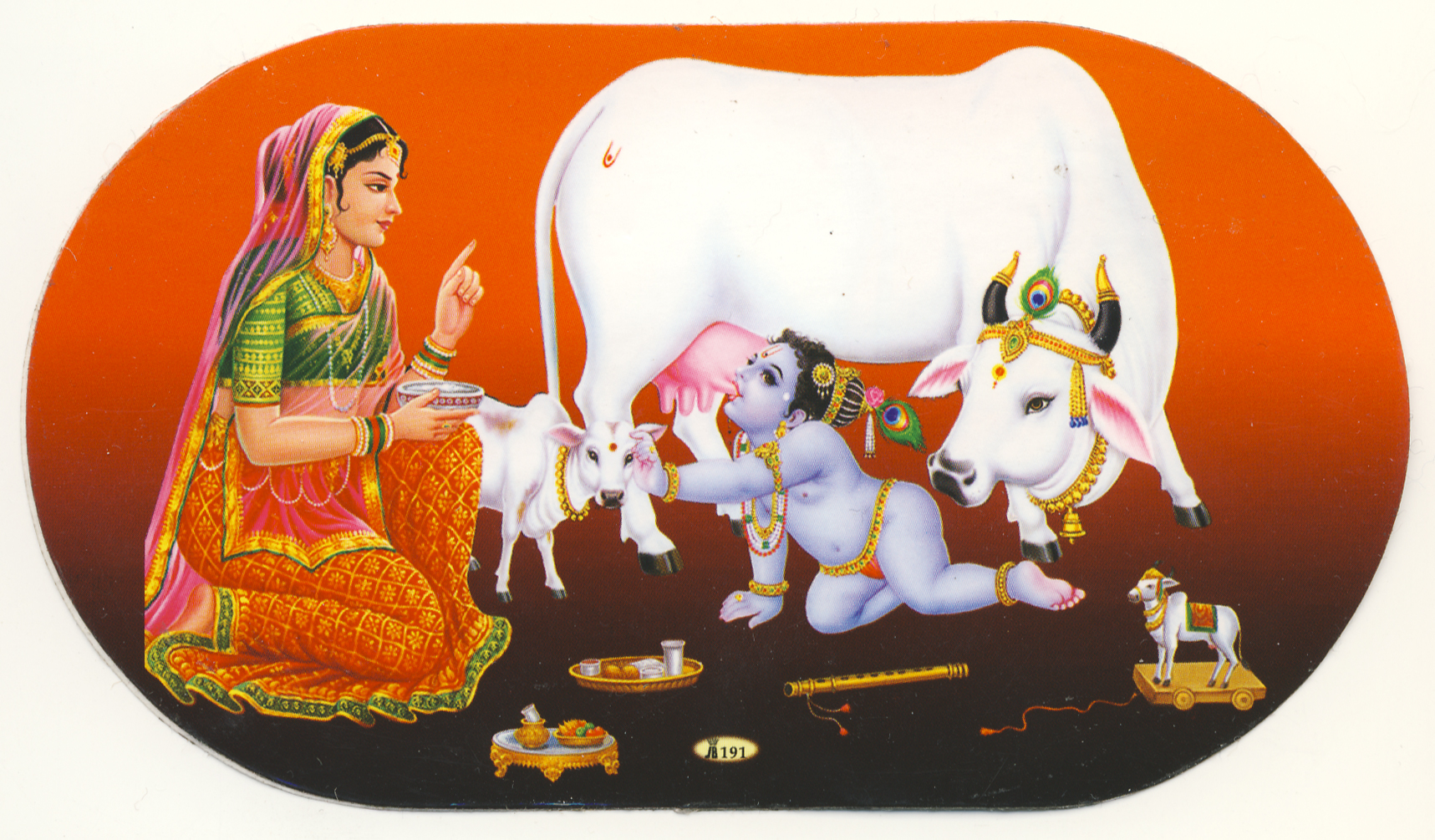 Baby Krishna - Indian Cow With Krishna PNG