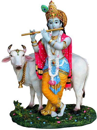 Download PNG image - Lord Krishna Png - Indian Cow With Krishna PNG