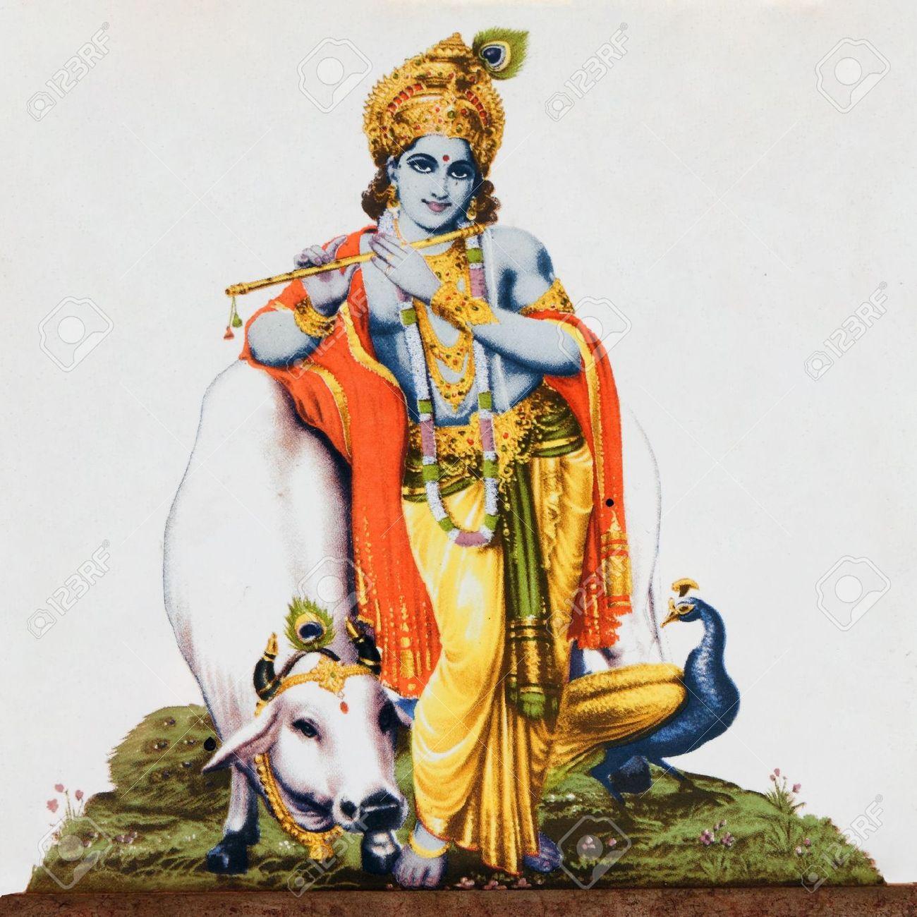 Krishna Art Stock Photos Images - Indian Cow With Krishna PNG