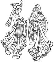 Indian Wedding Clipart in Black And White - Indian Dulha Dulhan PNG