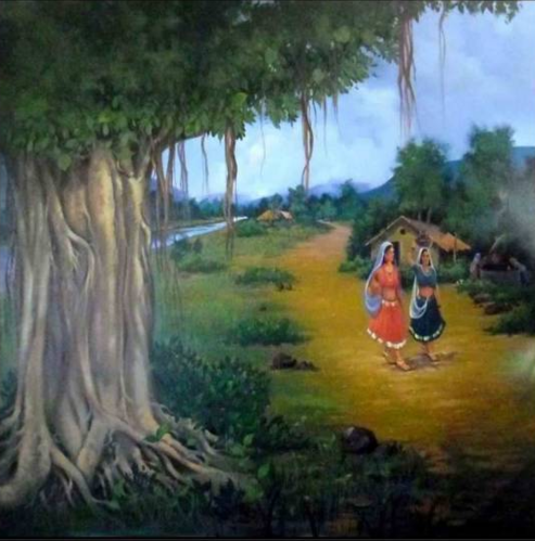 Indian Paintings - Indian Village Scene Painting Manufacturer from Miraj - Indian Village PNG