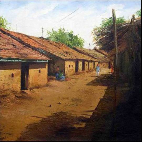 Indian Village Scene Painting - Indian Village PNG