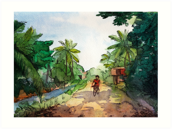 landscape watercolor Indian village, a cyclist on the road by OlgaBerlet - Indian Village PNG