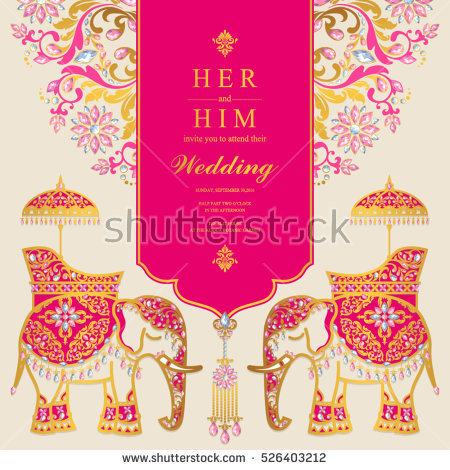 Indian Wedding Card, Elephant Patterned Gold And Crystals Color. - Indian Wedding PNG Fonts