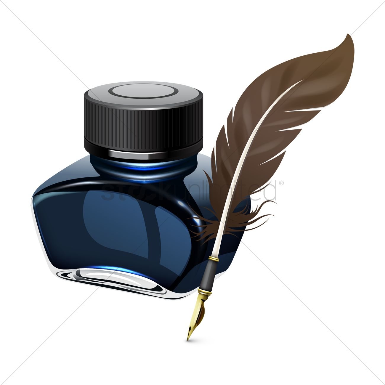 Ink Bottle And Feather PNG - 170316