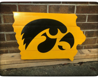 Iowa Cutout - Hawkeyes Logo - Wood Sign Wall Hanger - Iowa Hawkeye PNG Free