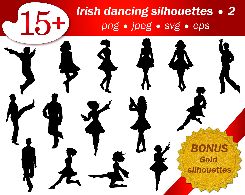 SVG irish dancer silhouette. Silhouette cameo files set. People silhouette.  PNG silhouette. - Irish Dancer PNG