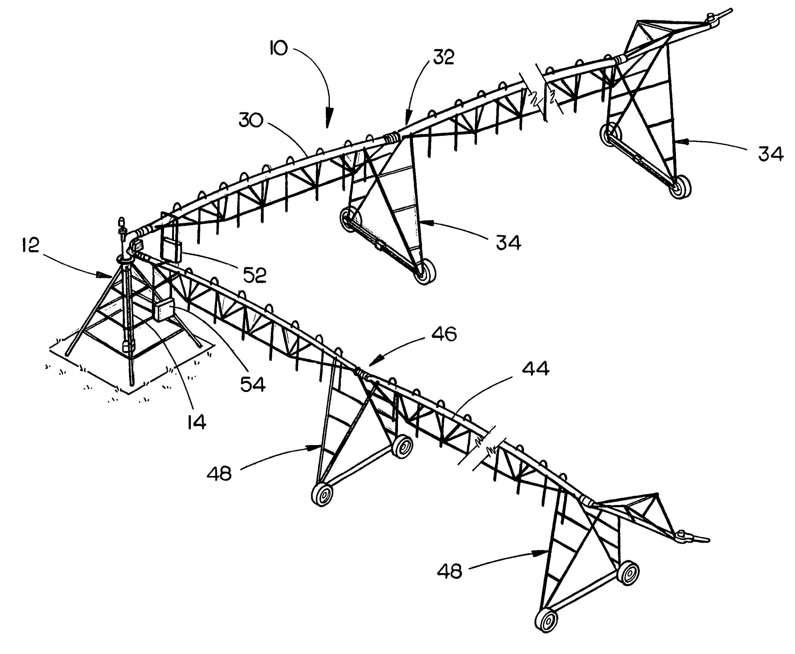 Patent US8317114 - Dual span center pivot irrigation system . - Irrigation PNG Black And White