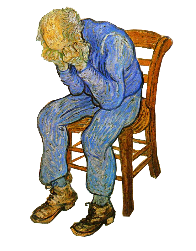 Old Man In Sorrow isolated -