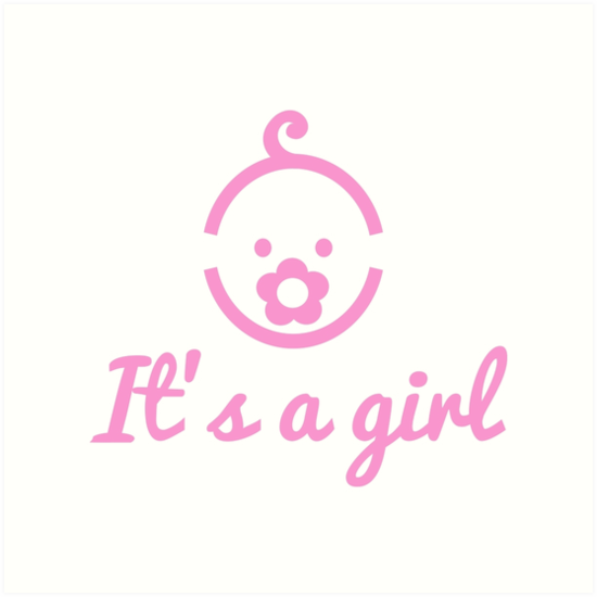 itu0027s a girl text with cute face icon for baby shower by beakraus - Its A Girl PNG