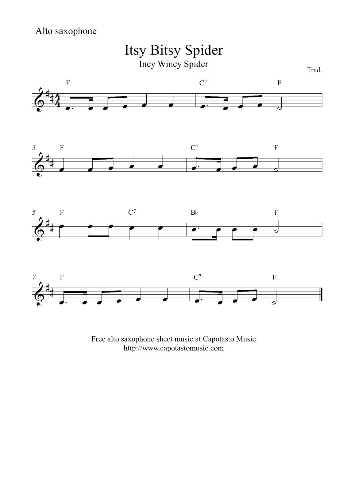 Free easy alto saxophone sheet music, Itsy Bitsy Spider (Incy Wincy Spider) - Itsy Bitsy Spider PNG
