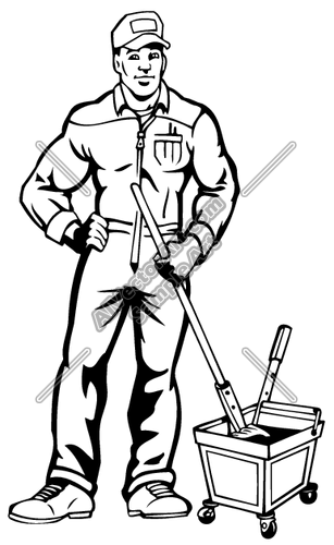 Janitor PNG Black And White - 50633
