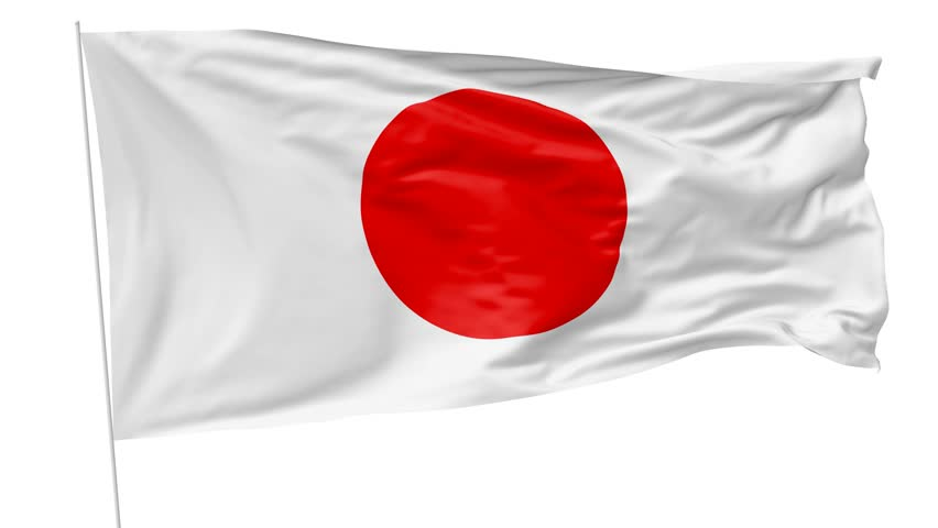 National Flag Of Japan With Flagpole Waving In The Wind, 3D Animation With  Luma Matte - Japan Flag PNG HD