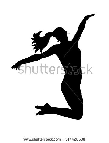 Silhouettes dancing jumping girl. Vector illustration - Jazz Dancer PNG Silhouette