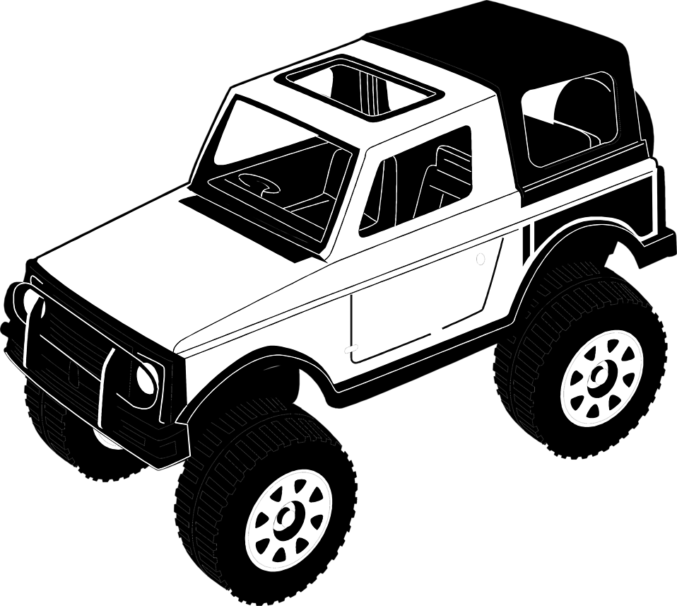 Black and white Jeep, Cartoon