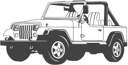 Jeep clipart black and white