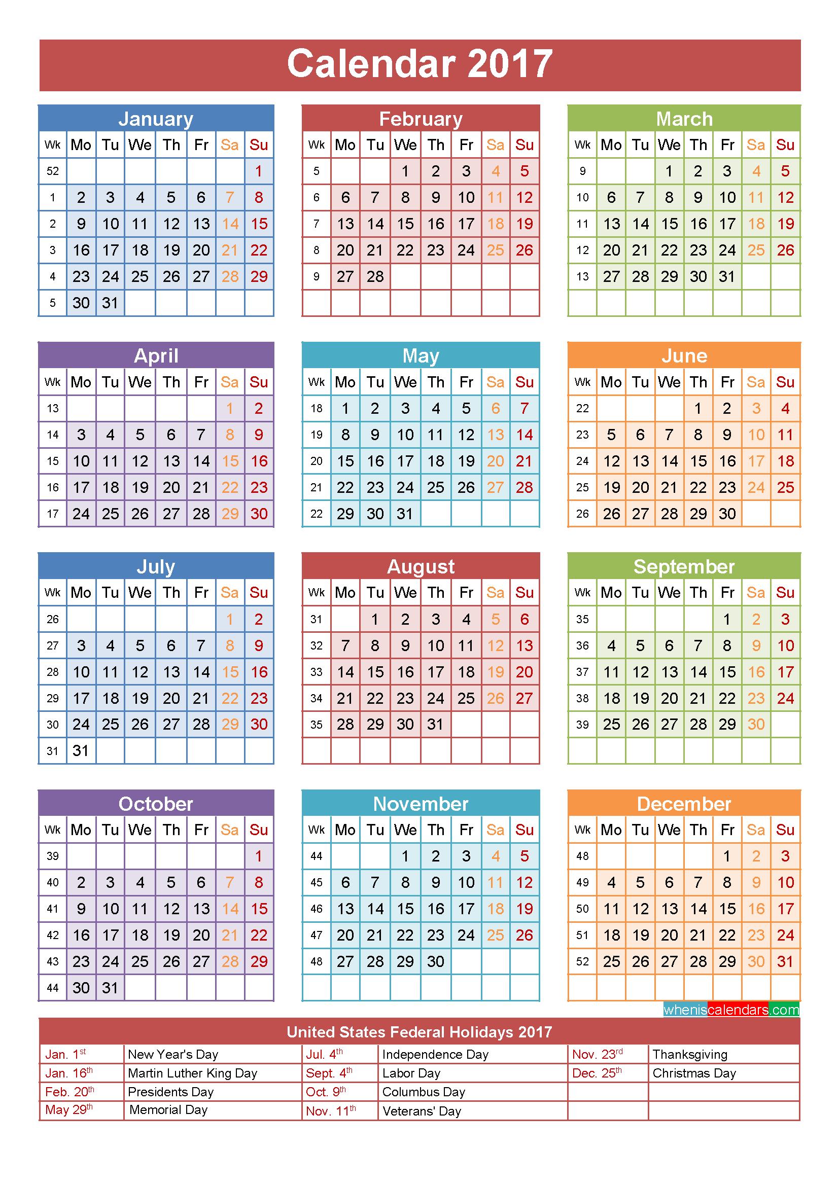2017 Calendar with Holidays Printable - Jewish Holiday HD PNG