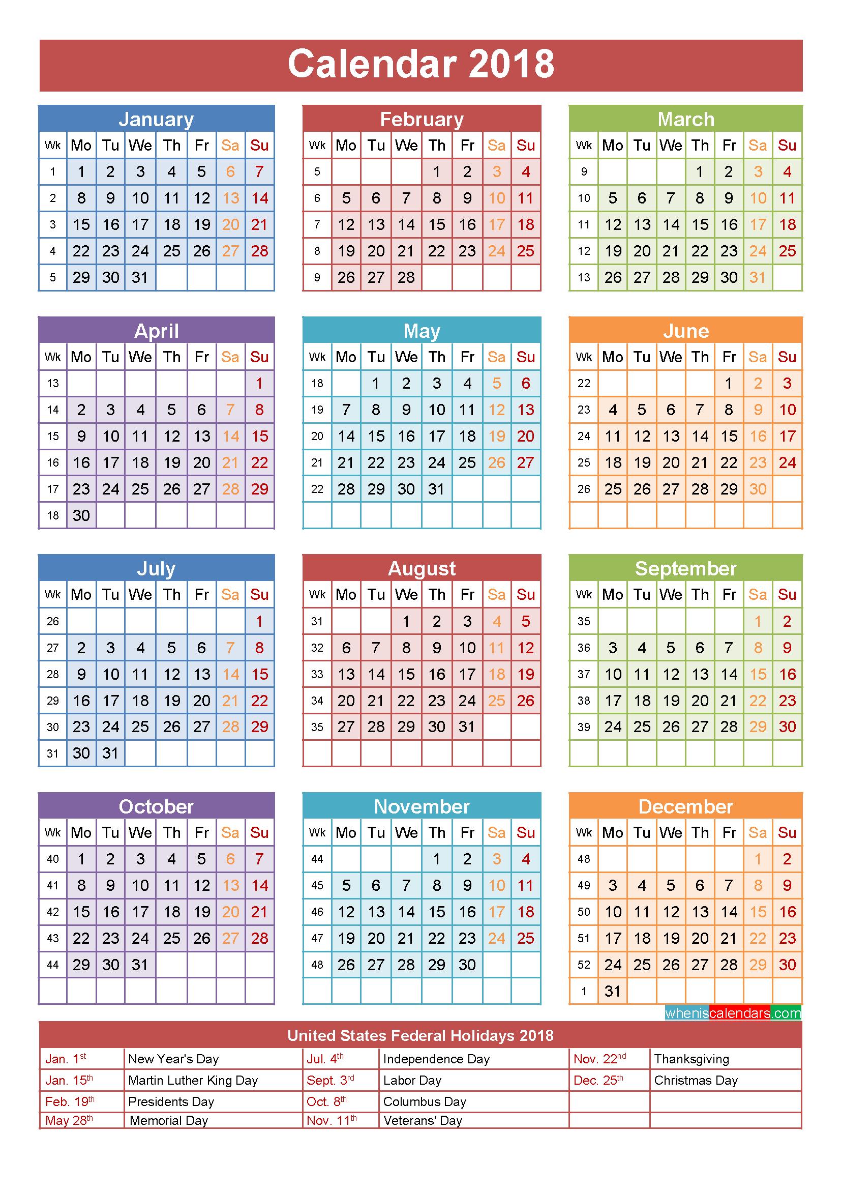 2018 Calendar with Holidays Printable - Jewish Holiday HD PNG