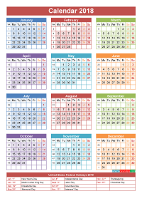 2018 Calendar with Holidays Printable Yearly Calendar PlusPng.com  - Jewish Holiday HD PNG