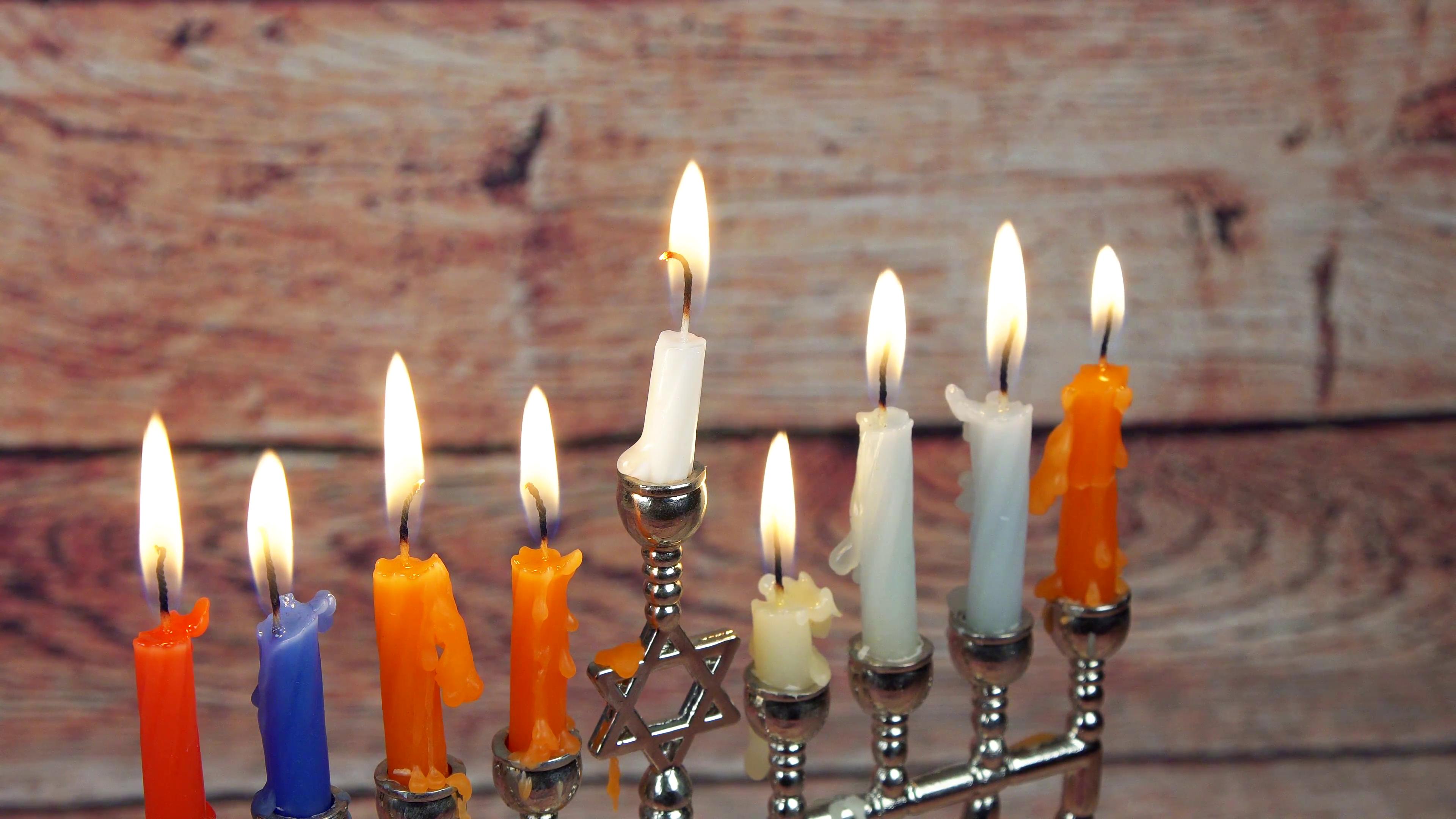 Hanukah candles celebrating the Jewish holiday Hanukkah celebration Stock  Video Footage - VideoBlocks - Jewish Holiday HD PNG