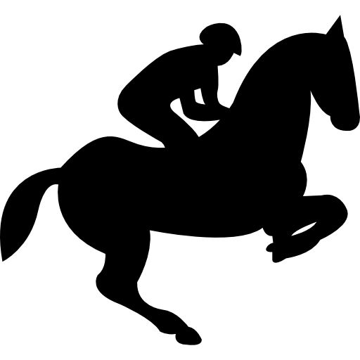 Jumping horse with jockey silhouette free icon