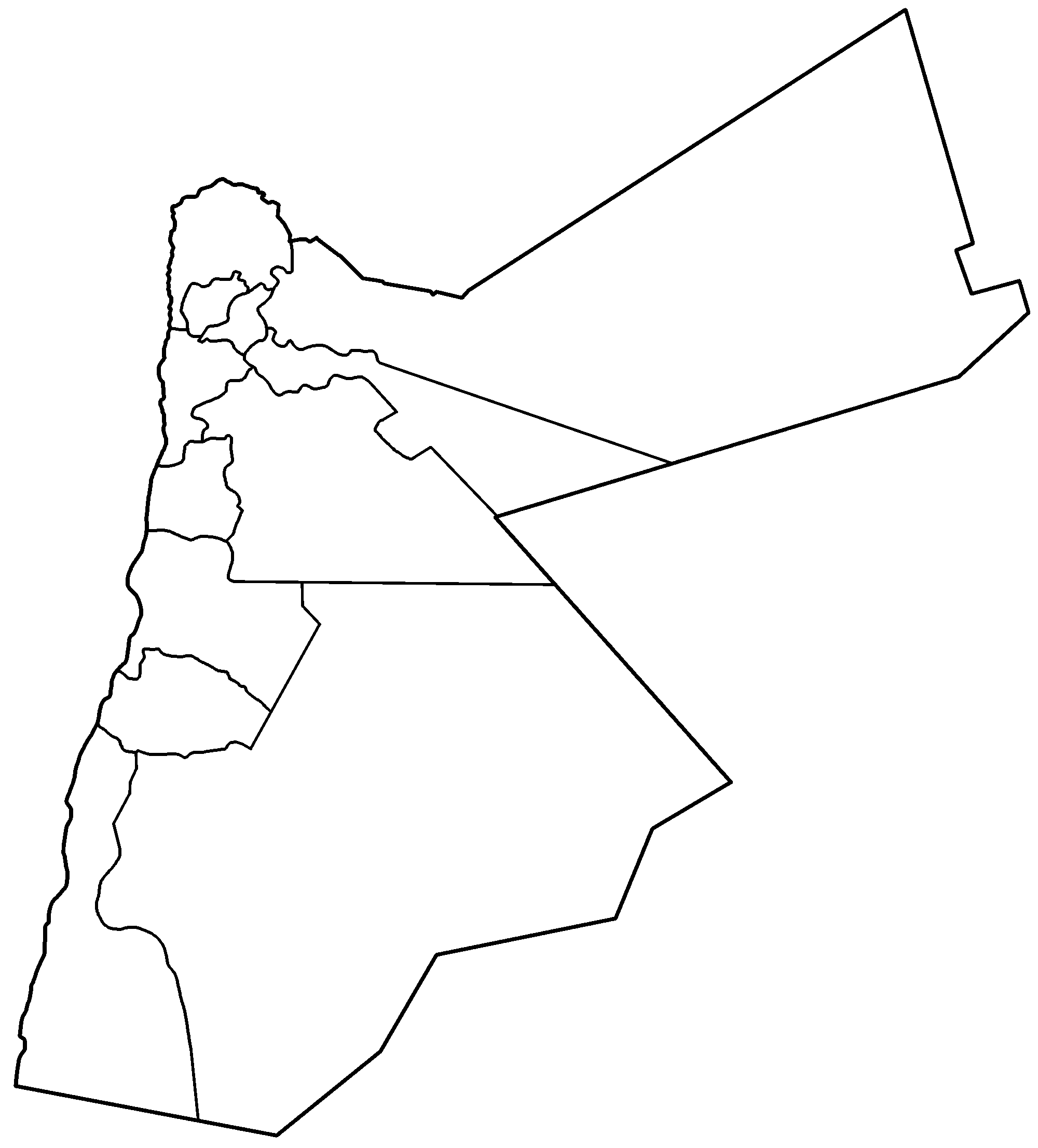 Jordan Governorates Blank - Jordan Map PNG