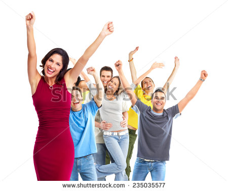 Group of happy people isolated on white background - Joyful People PNG