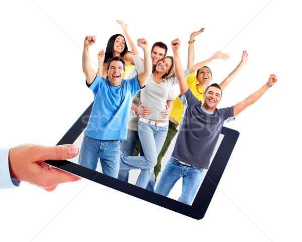 Tablet computer and group of happy people. Stock photo © Kurhan - Joyful People PNG