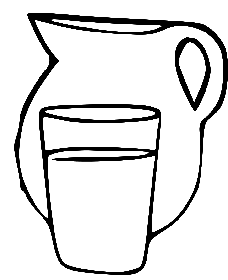 Water Clipart Black And White 06 - Jug PNG Black And White