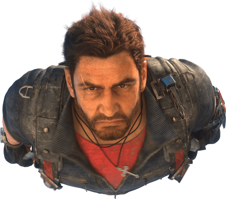 JC3 Rico (face close-up cleared background).png - Just Cause PNG