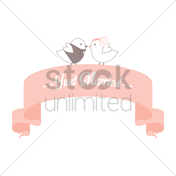 just married banner vector graphic - Just Married Banner PNG