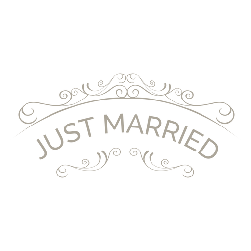 Just married ornate badge 6 png - Just Married Banner PNG