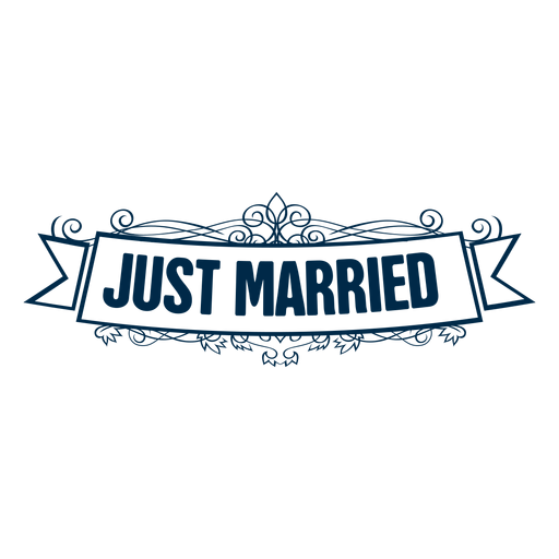 Just married wedding label 4 png - Just Married Banner PNG